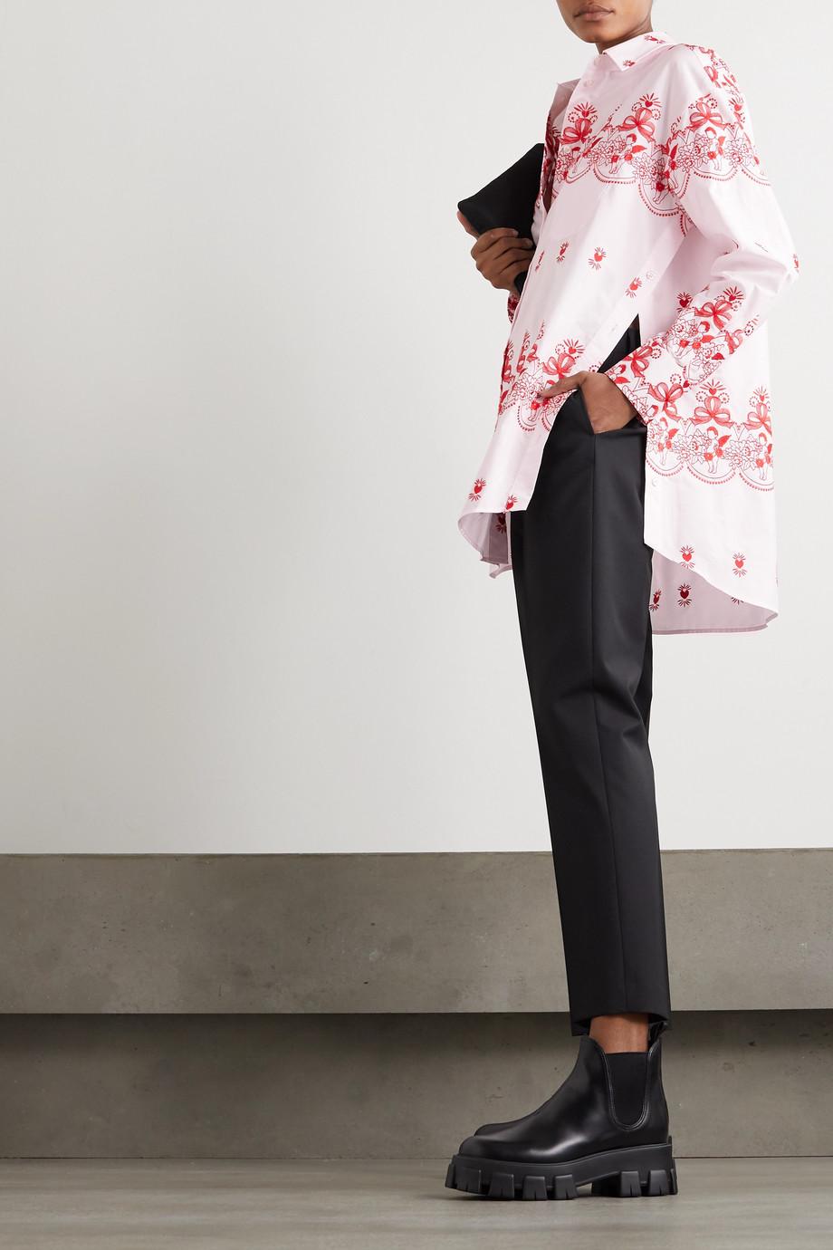 Simone Rocha Oversized-Hemd aus Baumwollpopeline mit Stickereien