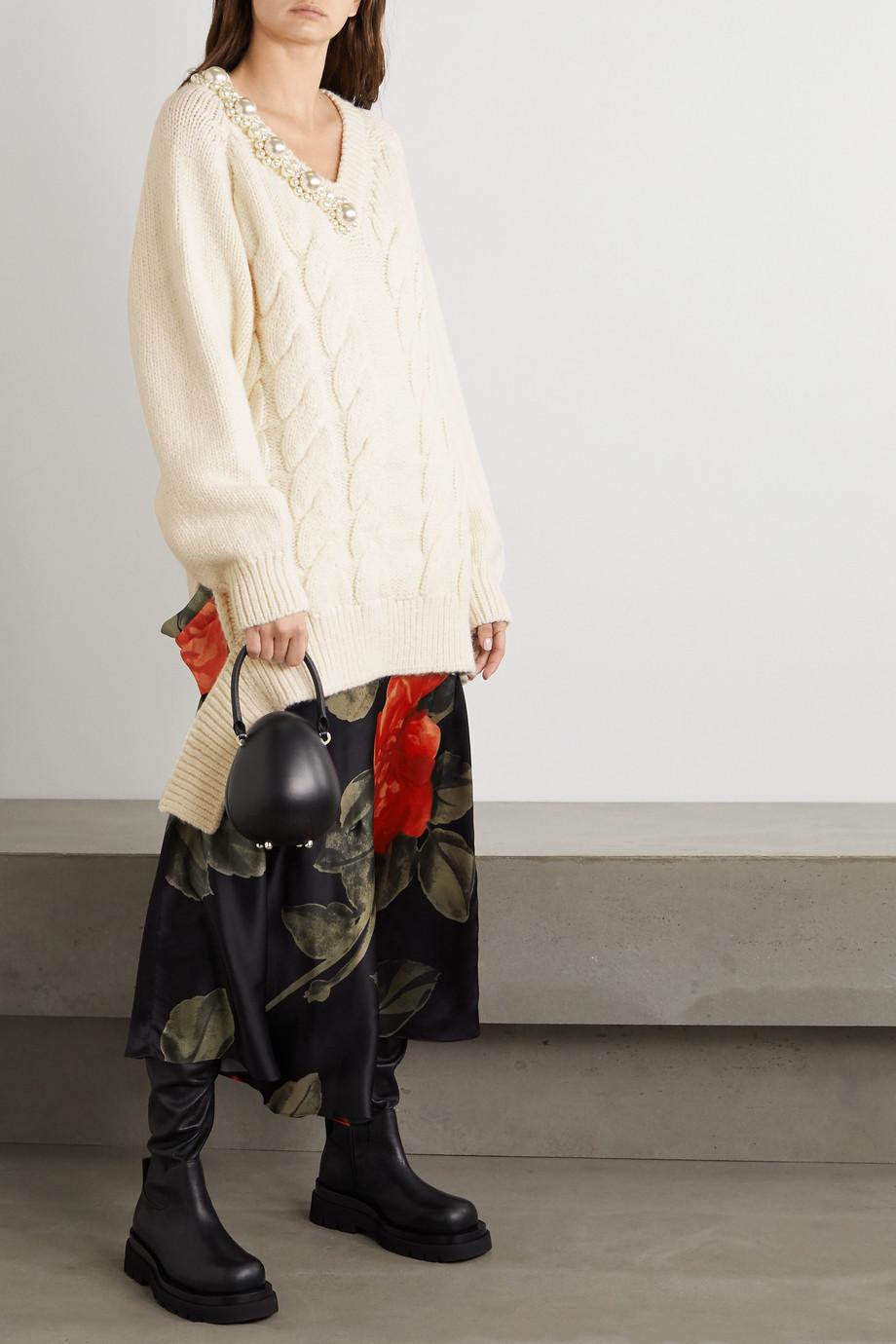 Simone Rocha Oversized-Zopfstrickpullover mit Kunstperlen