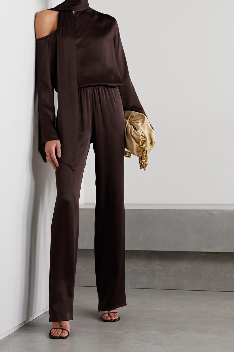 LAPOINTE Tie-neck cutout duchesse-satin blouse