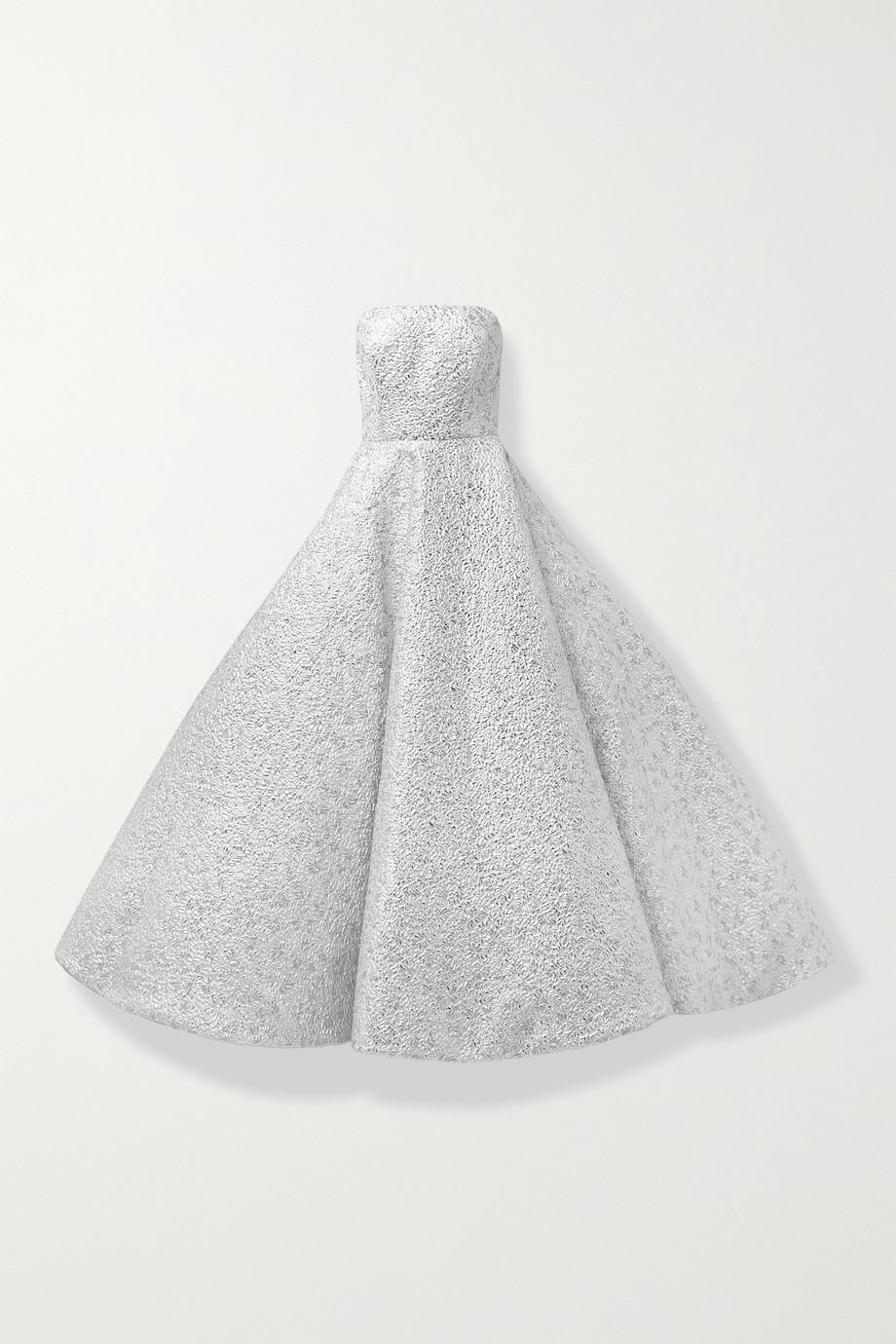 Oscar de la Renta Strapless metallic brocade gown