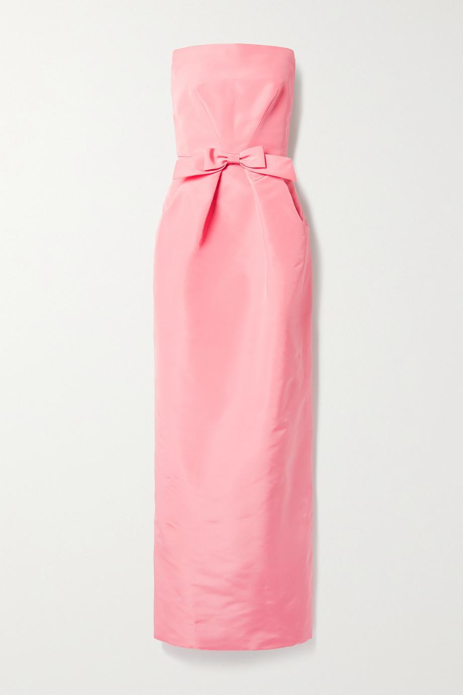 Oscar de la Renta Strapless bow-embellished silk-faille gown