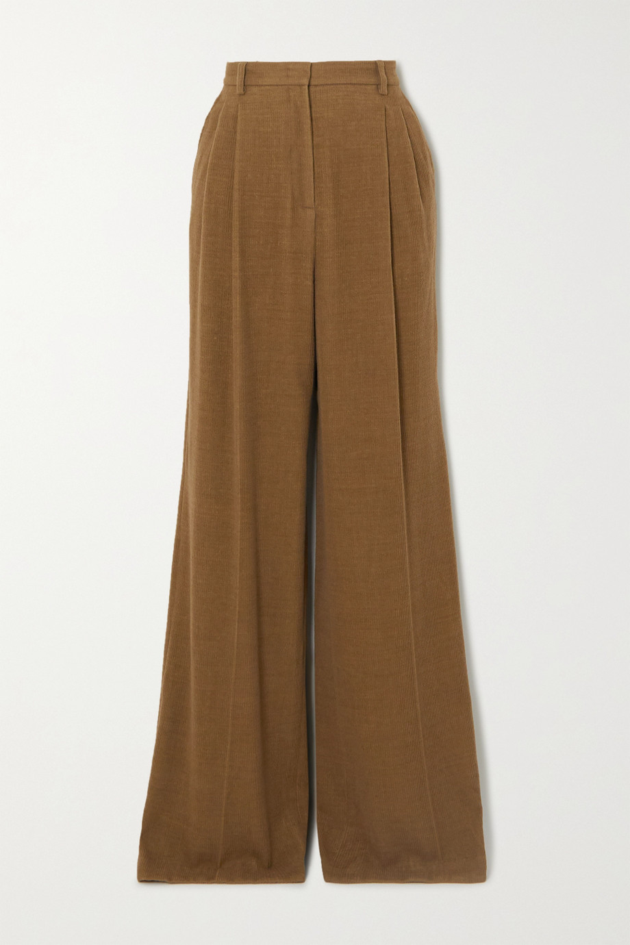 Gabriela Hearst Sonia pleated cashmere-corduroy wide-leg pants