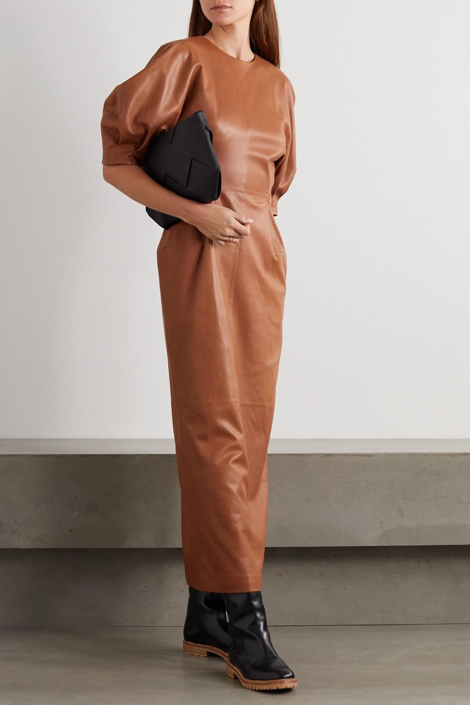Gabriela Hearst Coretta leather midi dress