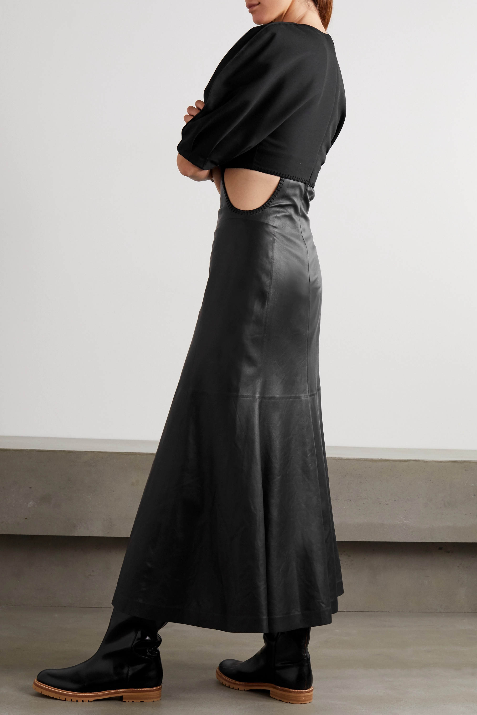 Gabriela Hearst Monod cutout wool-blend and leather midi dress