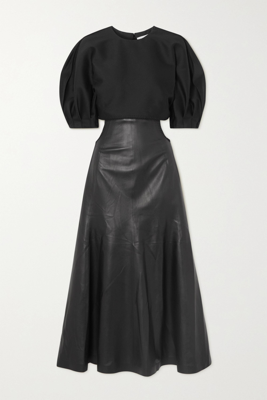 Gabriela Hearst Monod 挖剪羊毛混纺皮革中长连衣裙