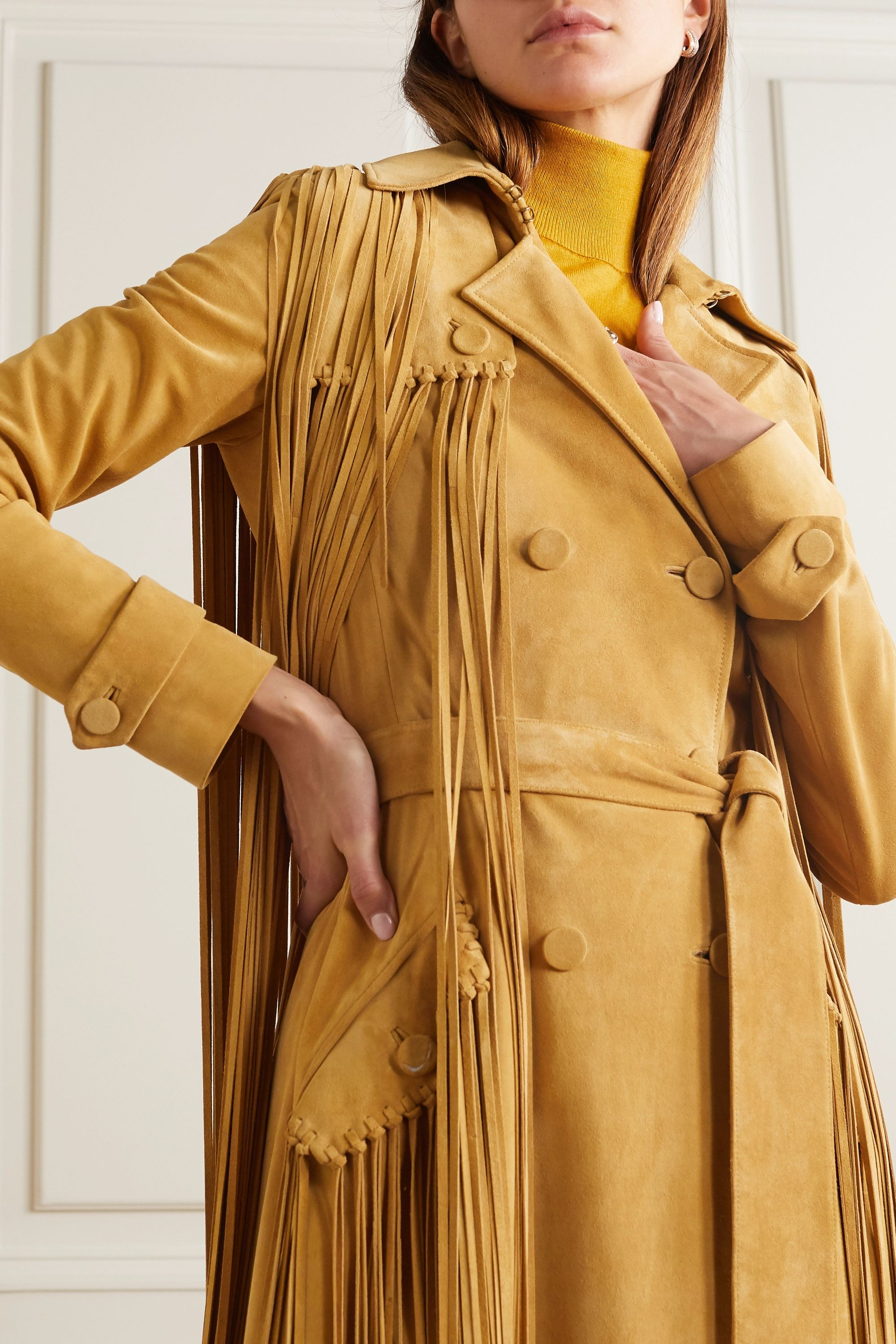 Gabriela Hearst Cattell fringed suede trench coat