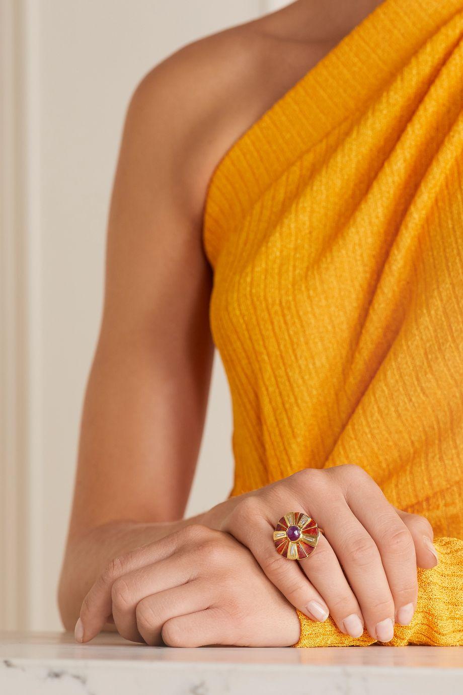 Brooke Gregson Sunflower 18-karat gold, enamel, sapphire and diamond ring