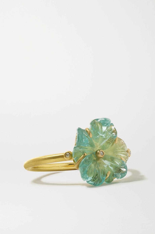 Brooke Gregson Blossom 18-karat gold, aquamarine and diamond ring