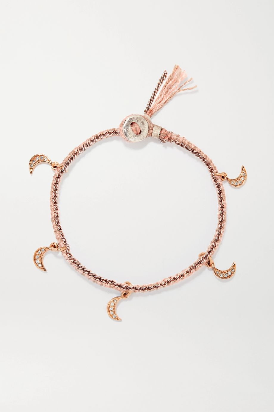 Brooke Gregson Crescent 14-karat rose gold, sterling silver, silk and diamond bracelet