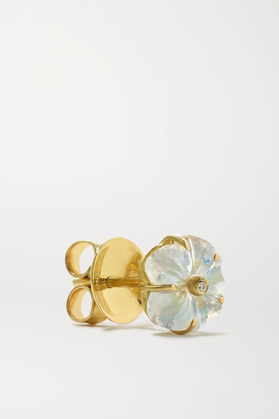 Brooke Gregson Blossom 18-karat gold, moonstone and diamond earrings