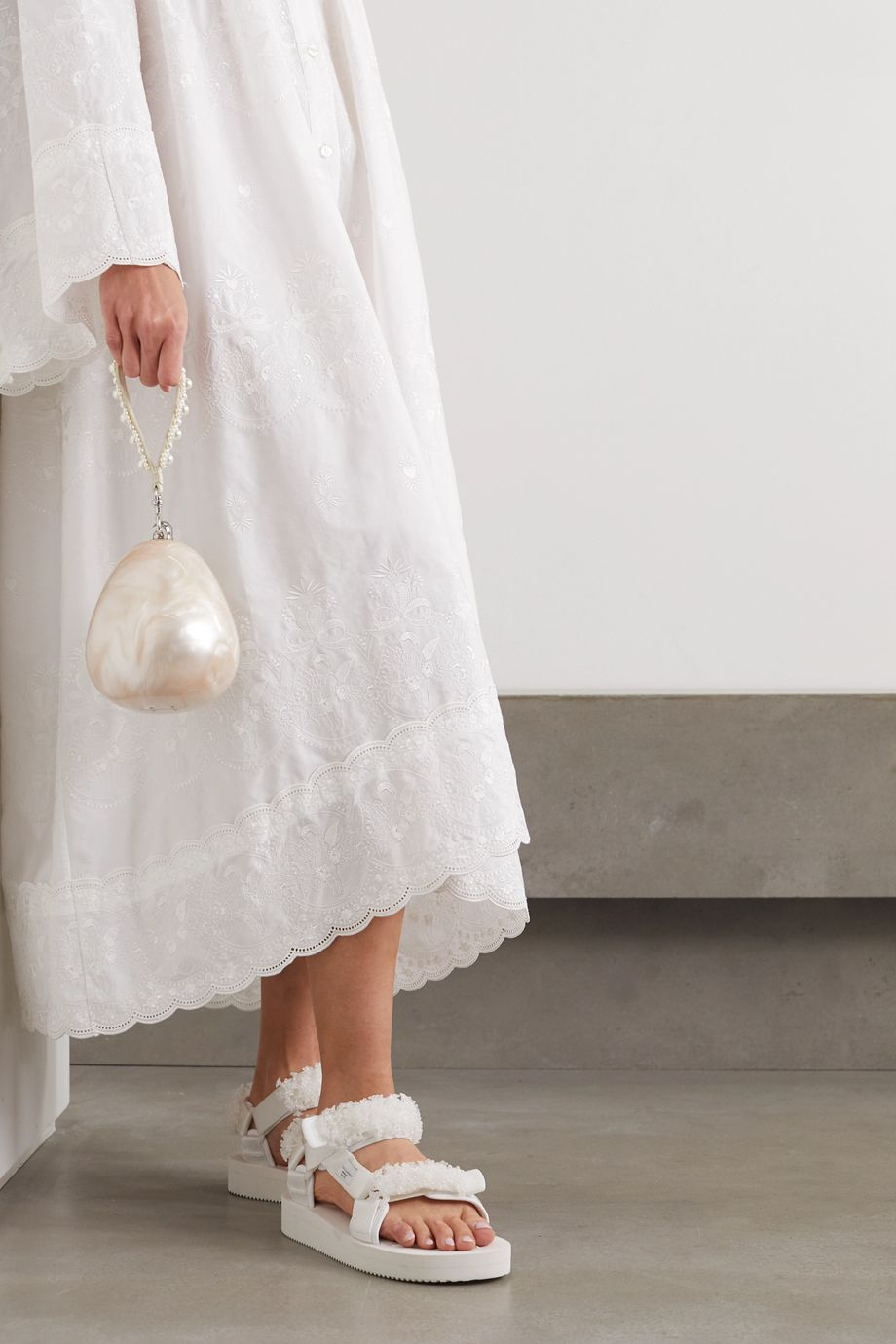 Simone Rocha Faux pearl-embellished marbled acrylic tote