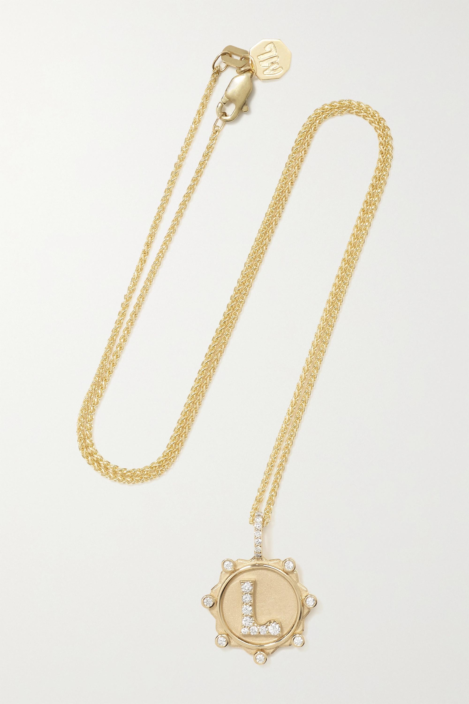 Marlo Laz Initial Coin Kette aus 14 Karat Gold mit Diamanten
