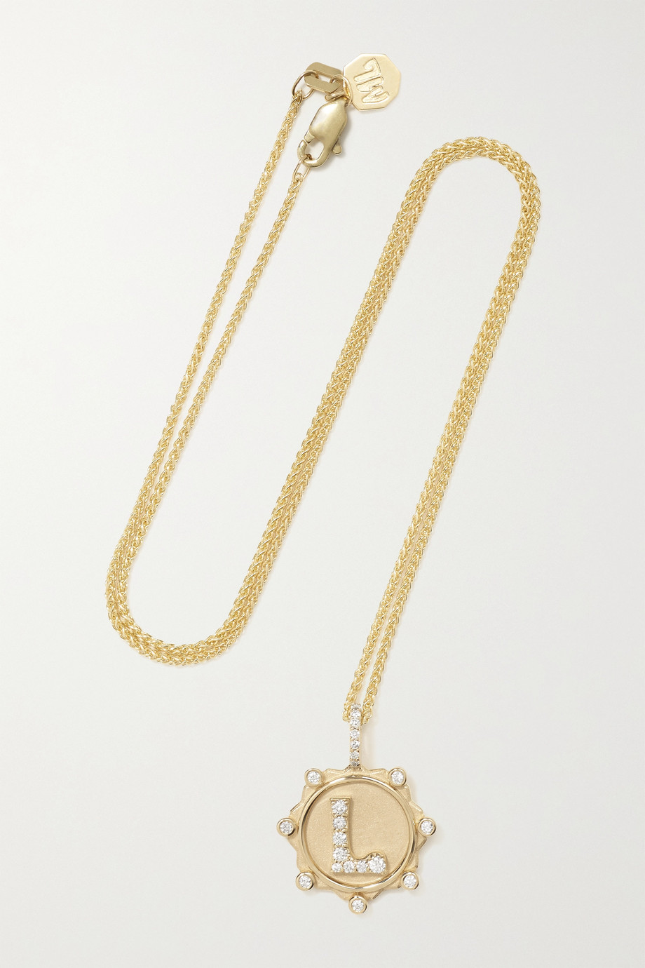 Marlo Laz Initial Coin 14-karat gold diamond necklace