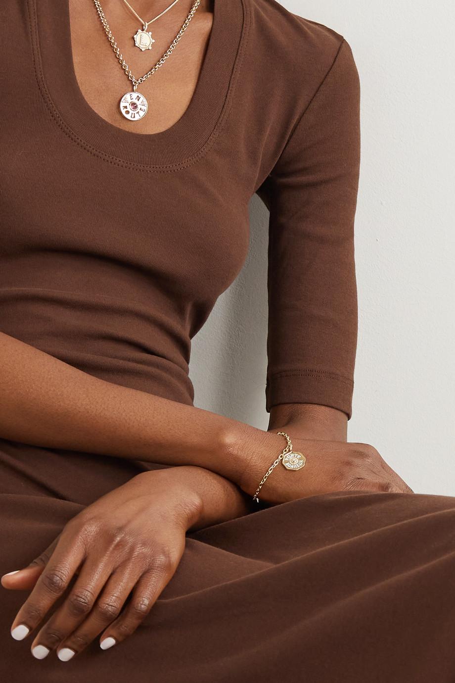 Marlo Laz Mini Porte Bonheur Coin 14-karat gold, enamel, diamond and pearl bracelet