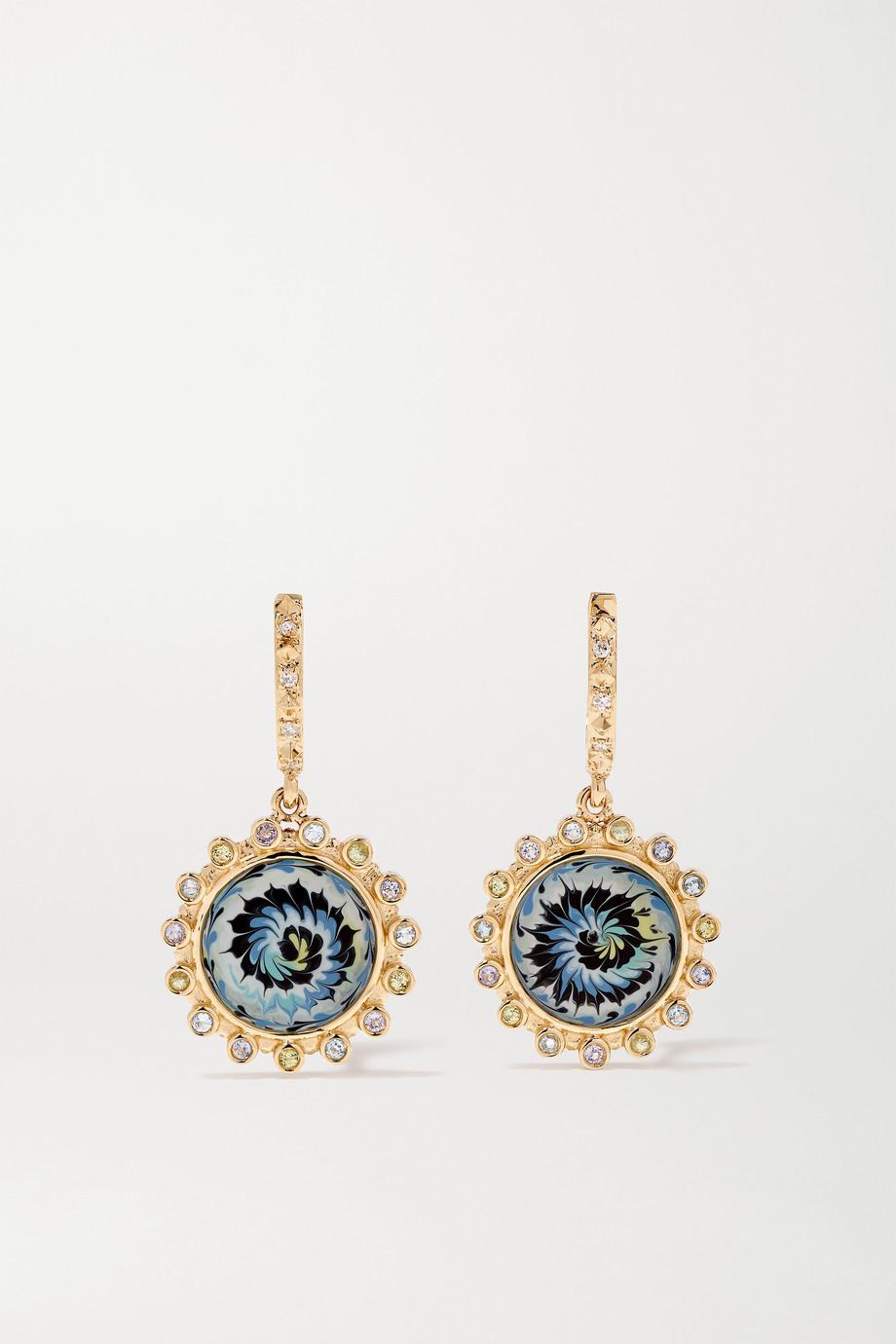 Marlo Laz Spiral 14-karat gold, enamel and multi-stone earrings