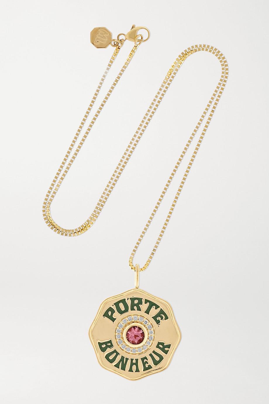 Marlo Laz Porte Bonheur Coin große Kette aus 14 Karat Gold mit Emaille, Turmalin und Diamanten