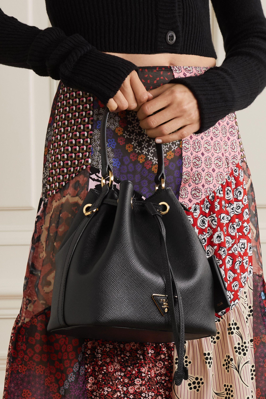 Black Textured Leather Bucket Bag Prada Net A Porter