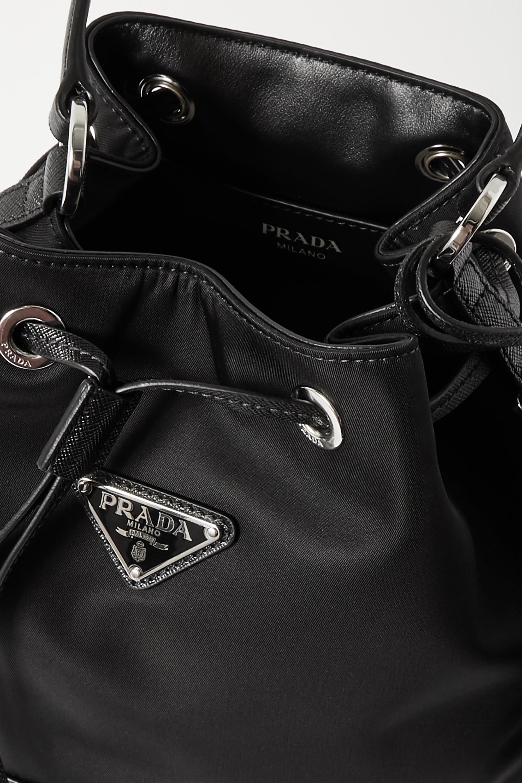 Prada Tessuto textured leather-trimmed nylon bucket bag