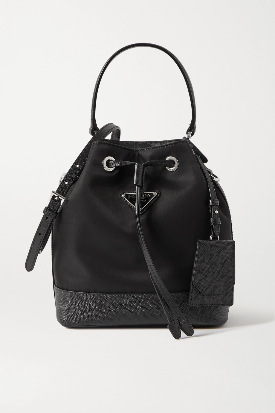 Prada Tessuto textured leather-trimmed nylon bucket bag