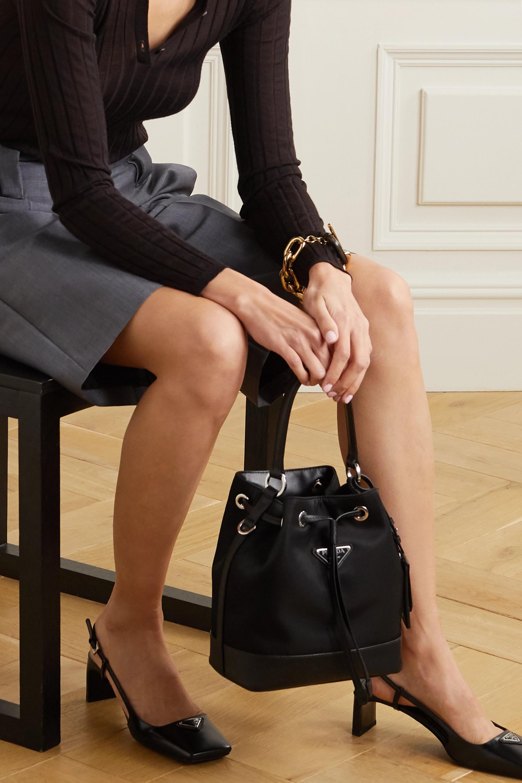 Black Tessuto Textured Leather Trimmed Nylon Bucket Bag Prada Net A Porter