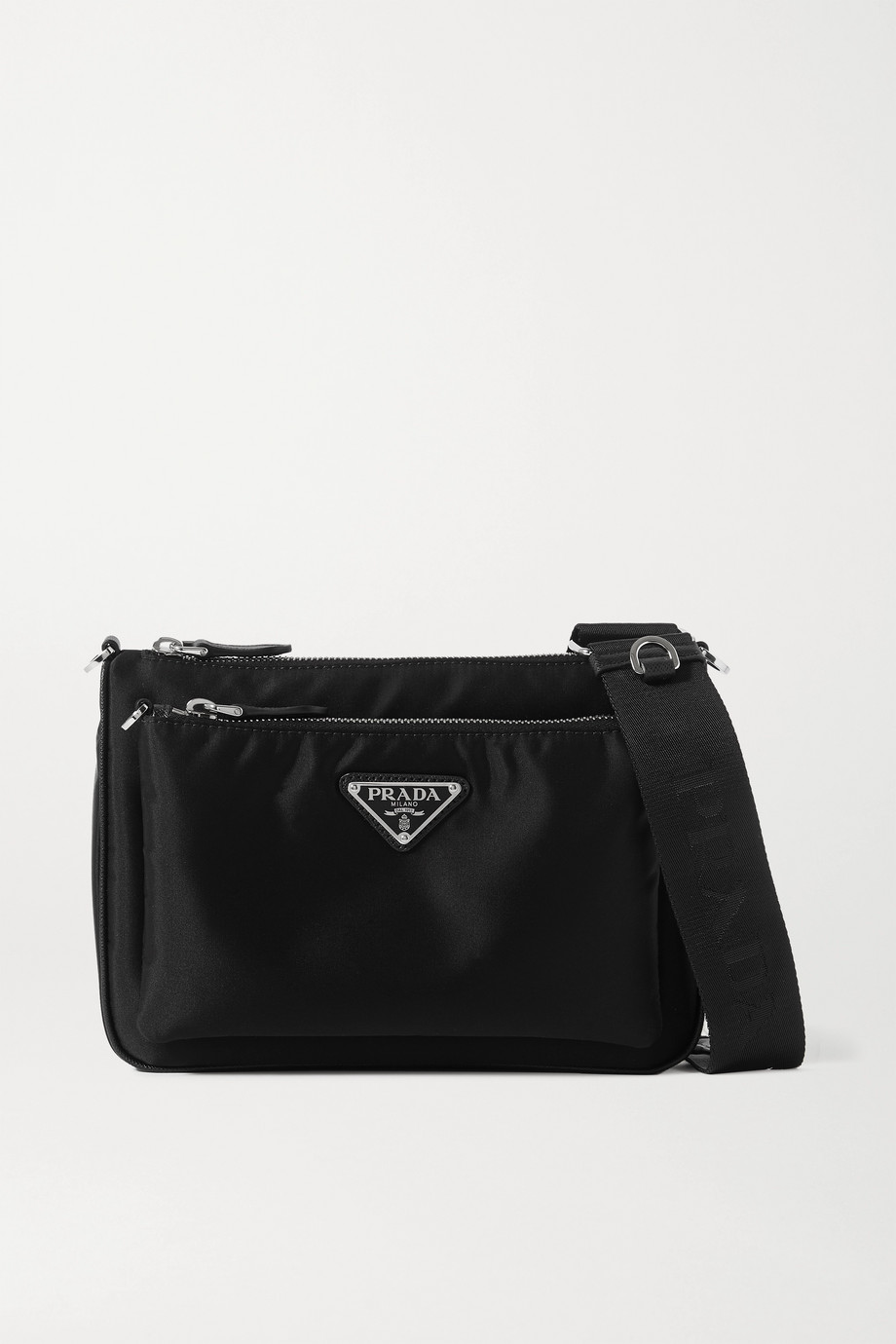 Prada Tessuto textured leather-trimmed nylon shoulder bag