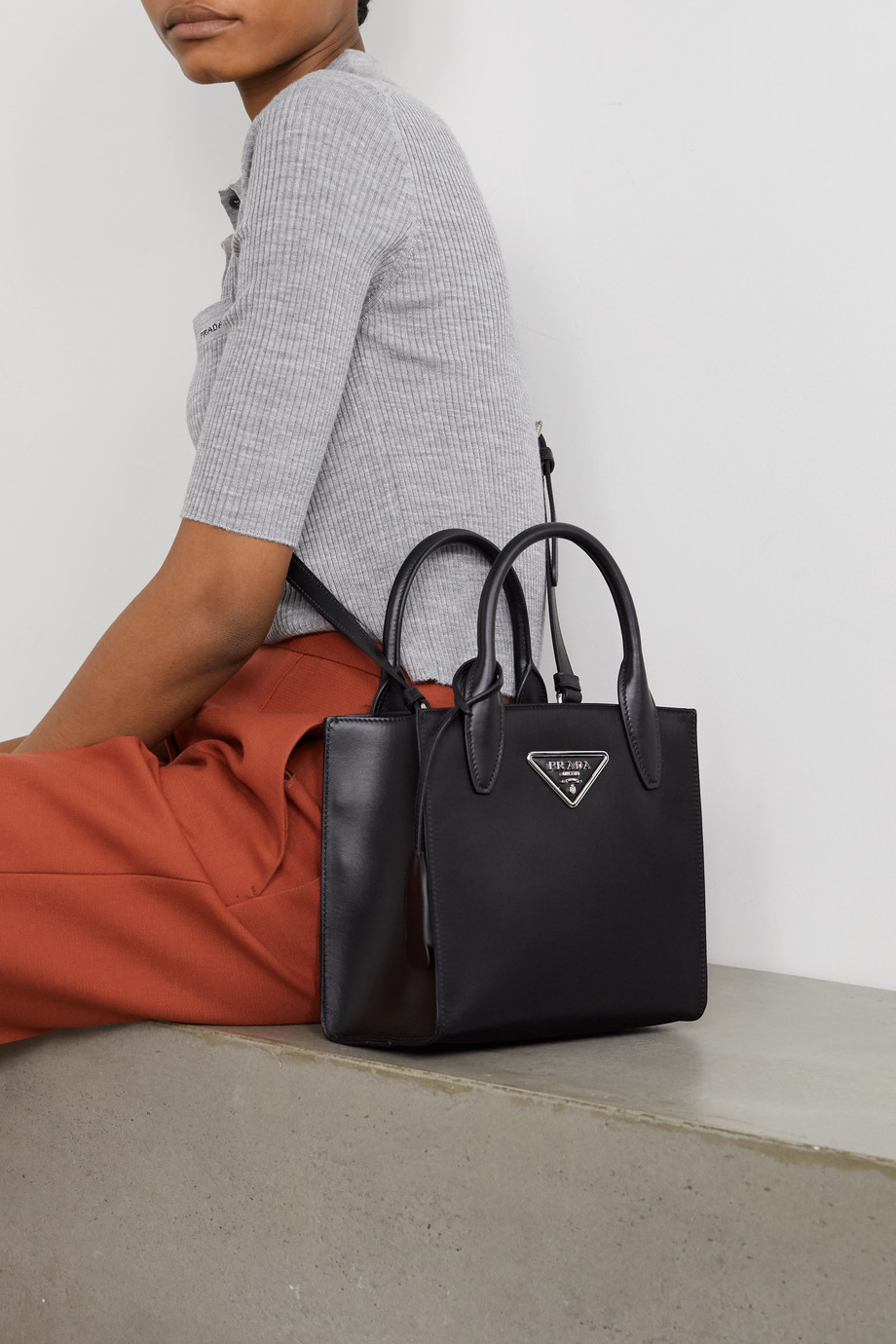 Prada Tessuto Vitalo leather-trimmed nylon tote