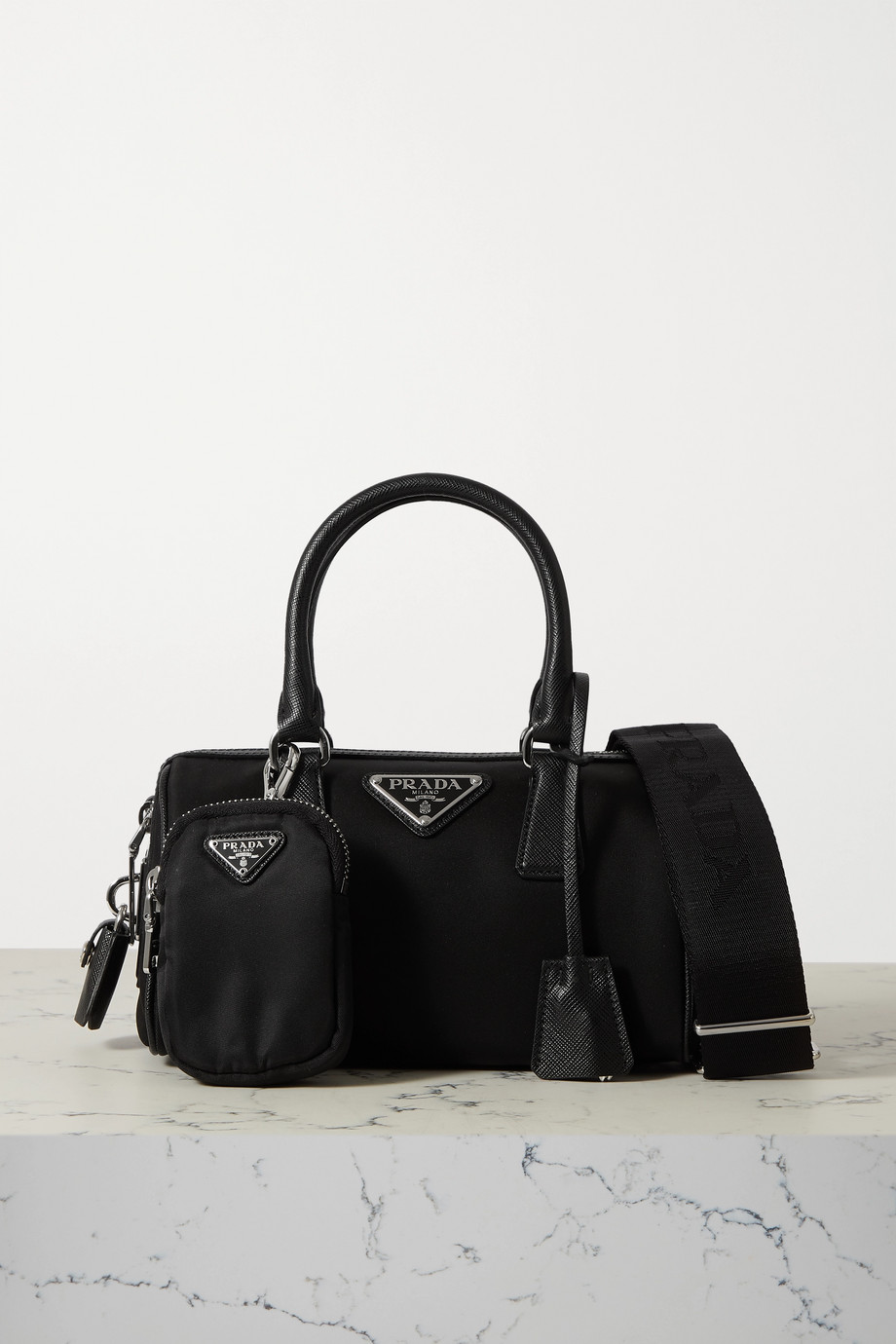 Prada Tessuto mini textured leather-trimmed nylon tote
