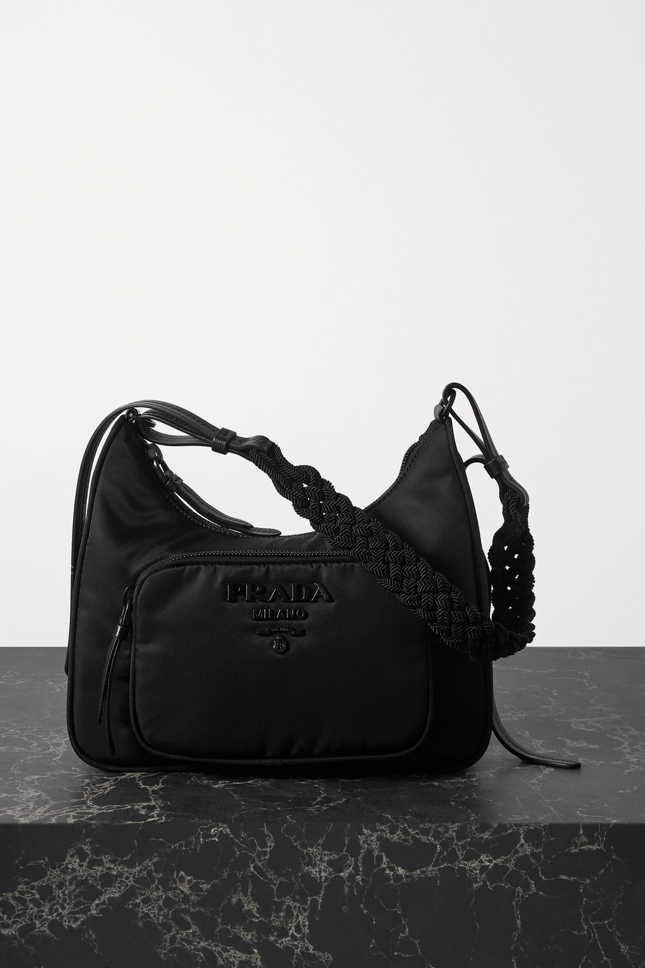 Prada Tessuto macramé-trimmed nylon shoulder bag