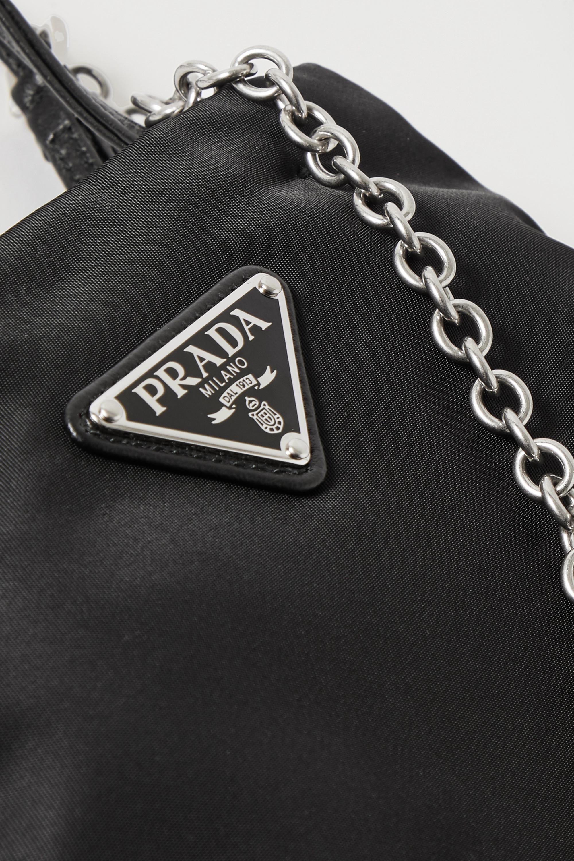 Prada Tessuto textured leather-trimmed nylon tote