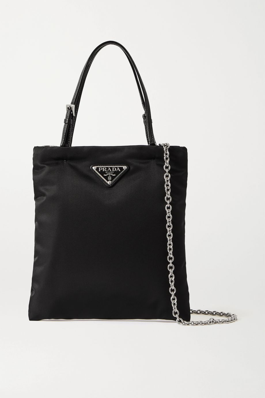 Prada Tessuto textured leather-trimmed nylon tote