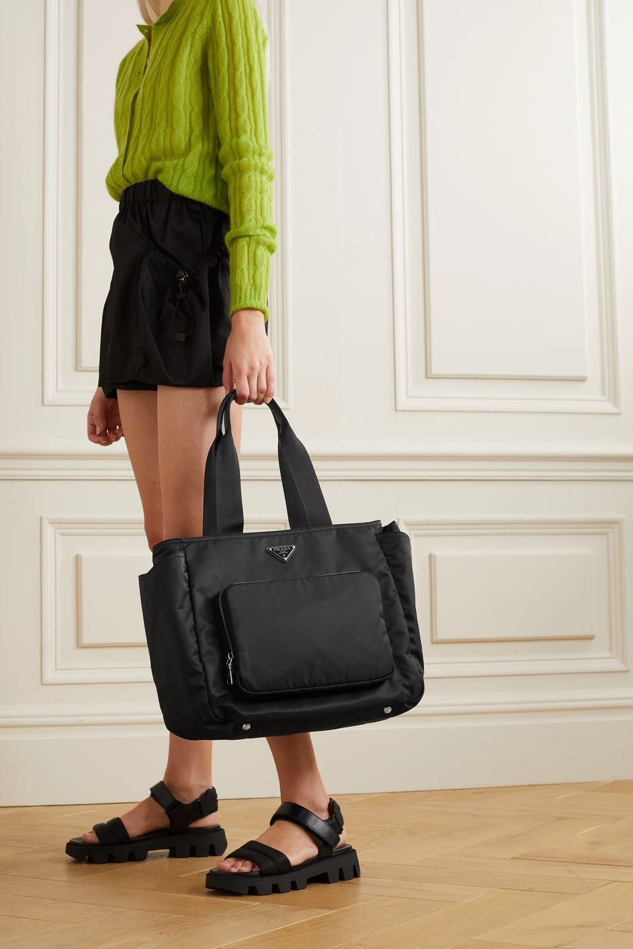 Prada Vela leather-trimmed nylon tote