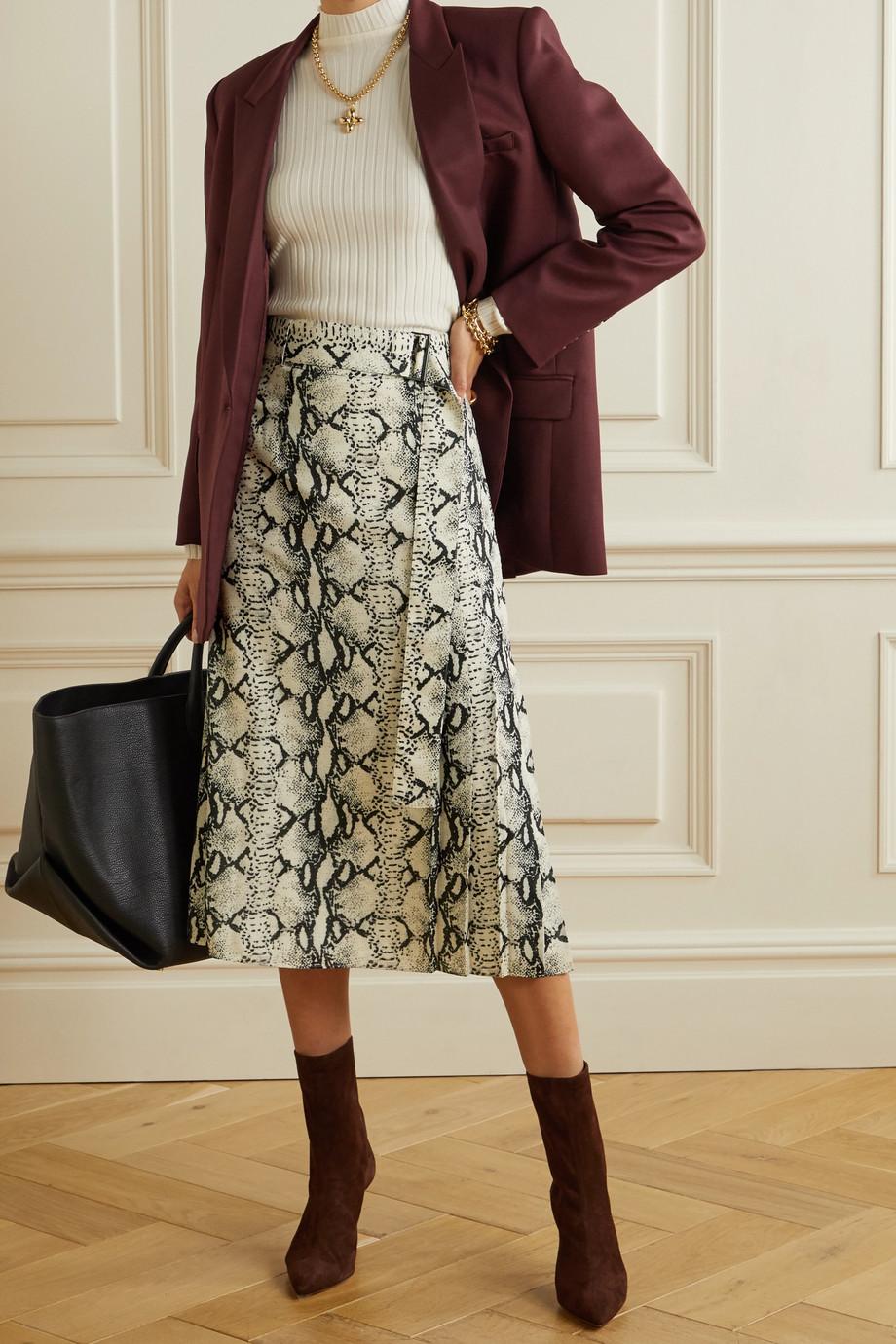 Jason Wu Belted snake-print crepe midi skirt