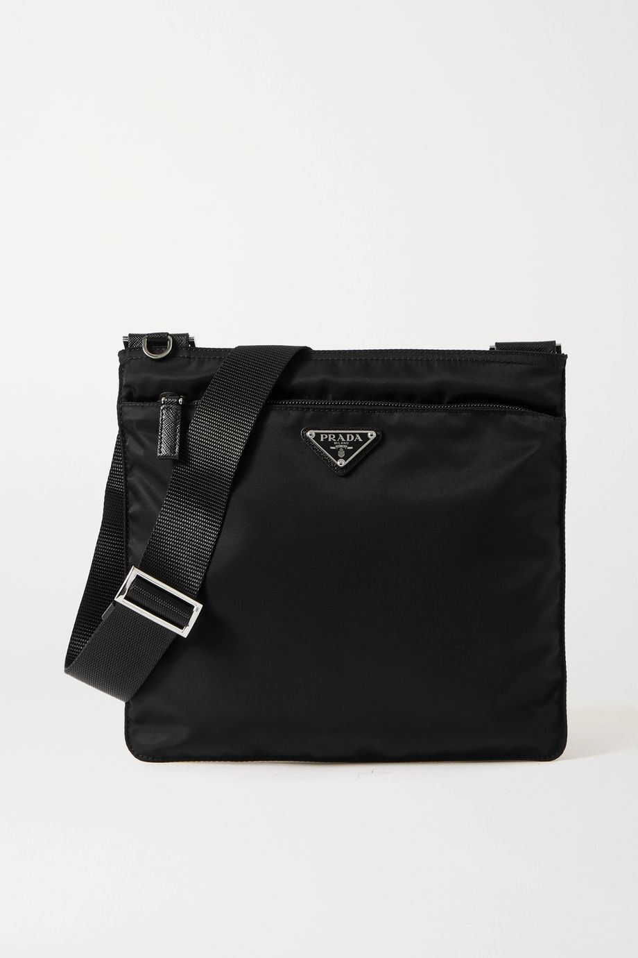 Prada Vela textured leather-trimmed nylon shoulder bag