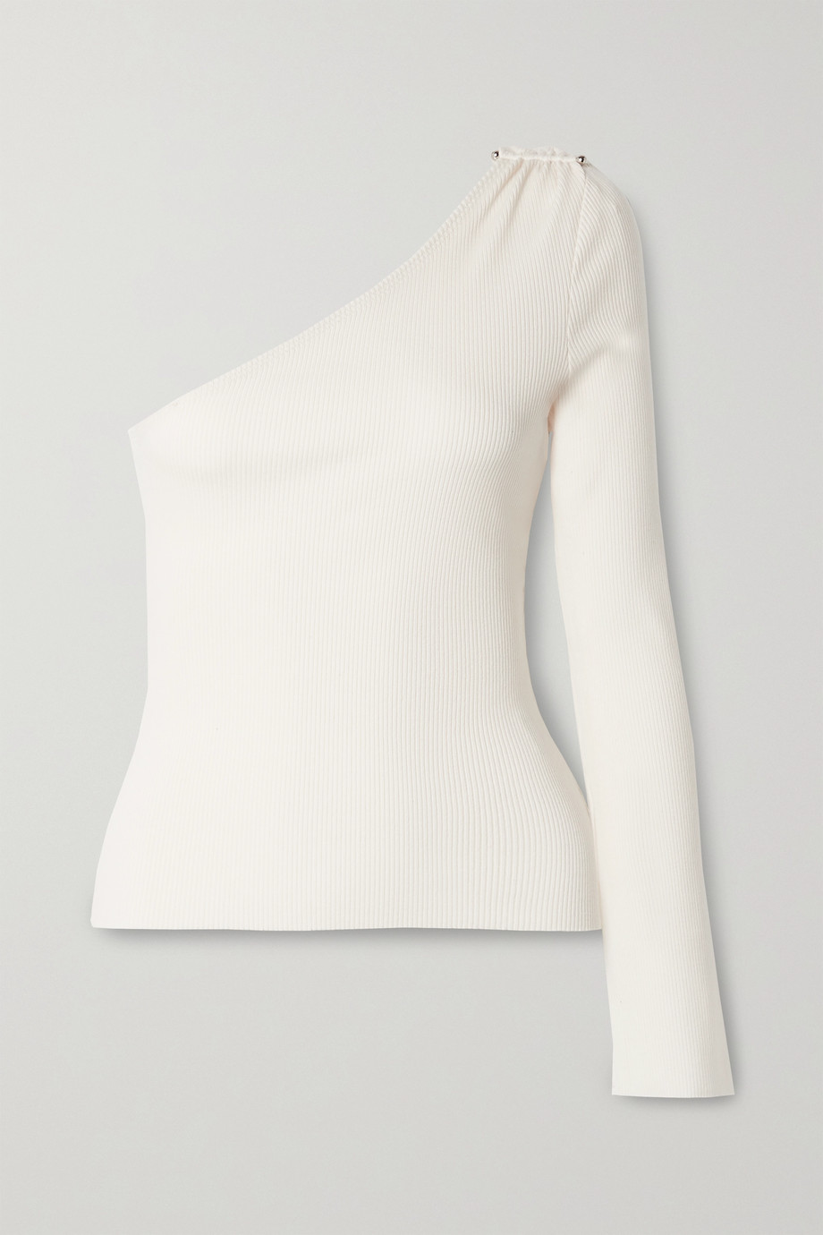The Range Barbell one-sleeve embellished ribbed stretch TENCEL Lyocell and cotton-blend top