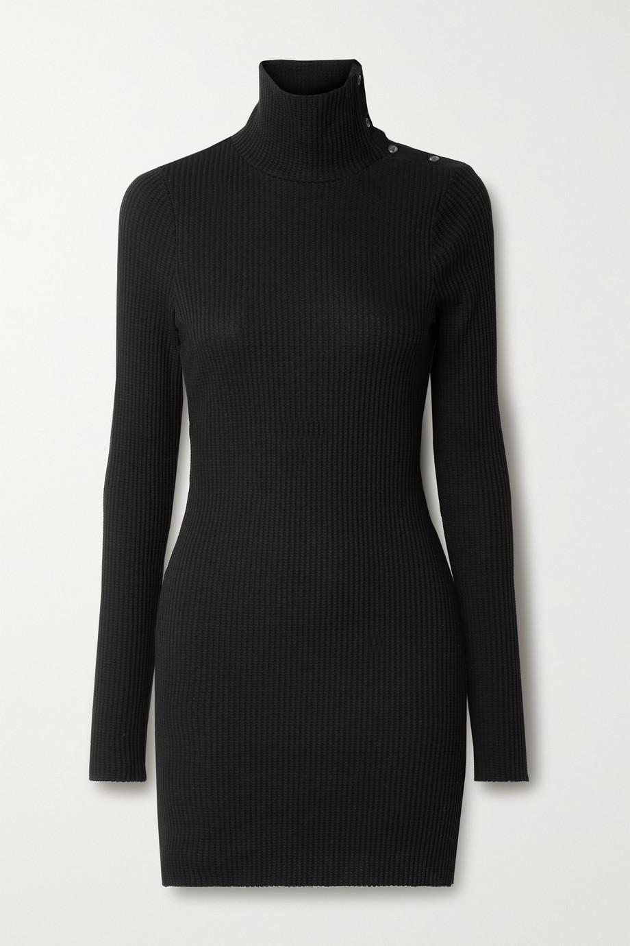 The Range Stark button-detailed waffle-knit cotton-blend turtleneck mini dress