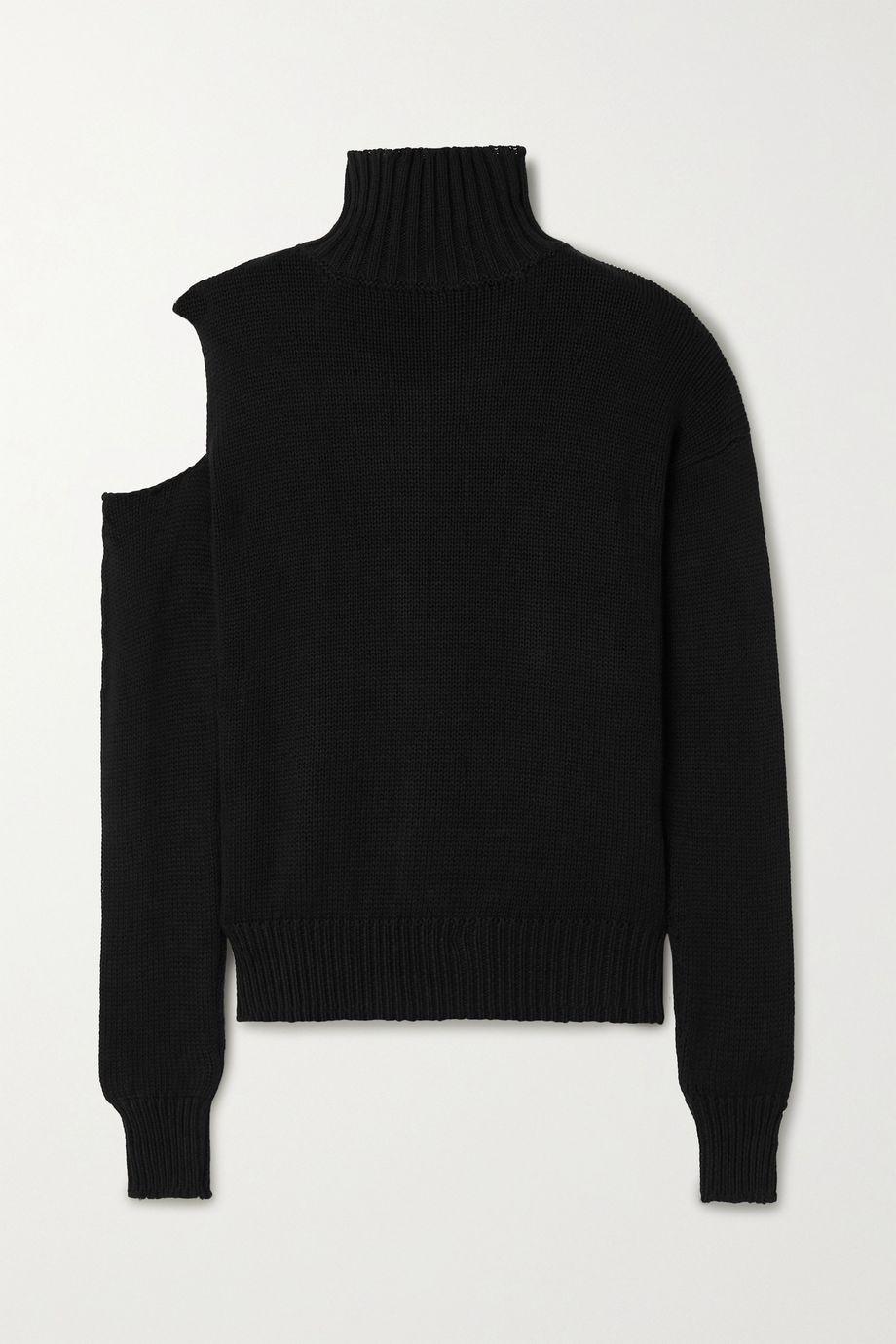 The Range Cold-shoulder ribbed cotton turtleneck sweater