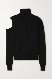 The Range Cold-shoulder ribbed cotton turtleneck sweater