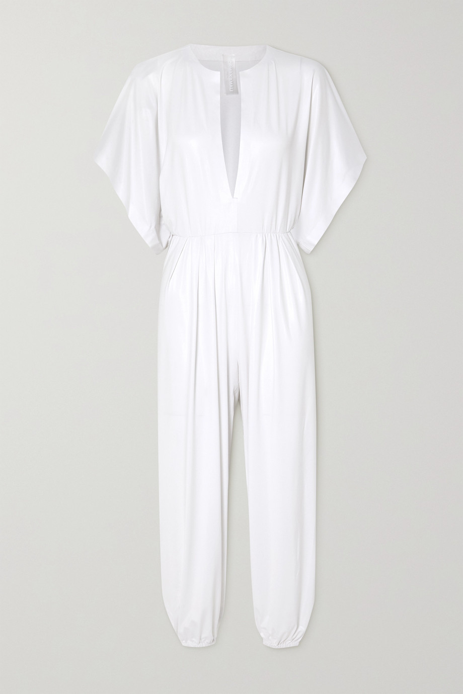 Norma Kamali Rectangle Jog stretch-lamé jumpsuit
