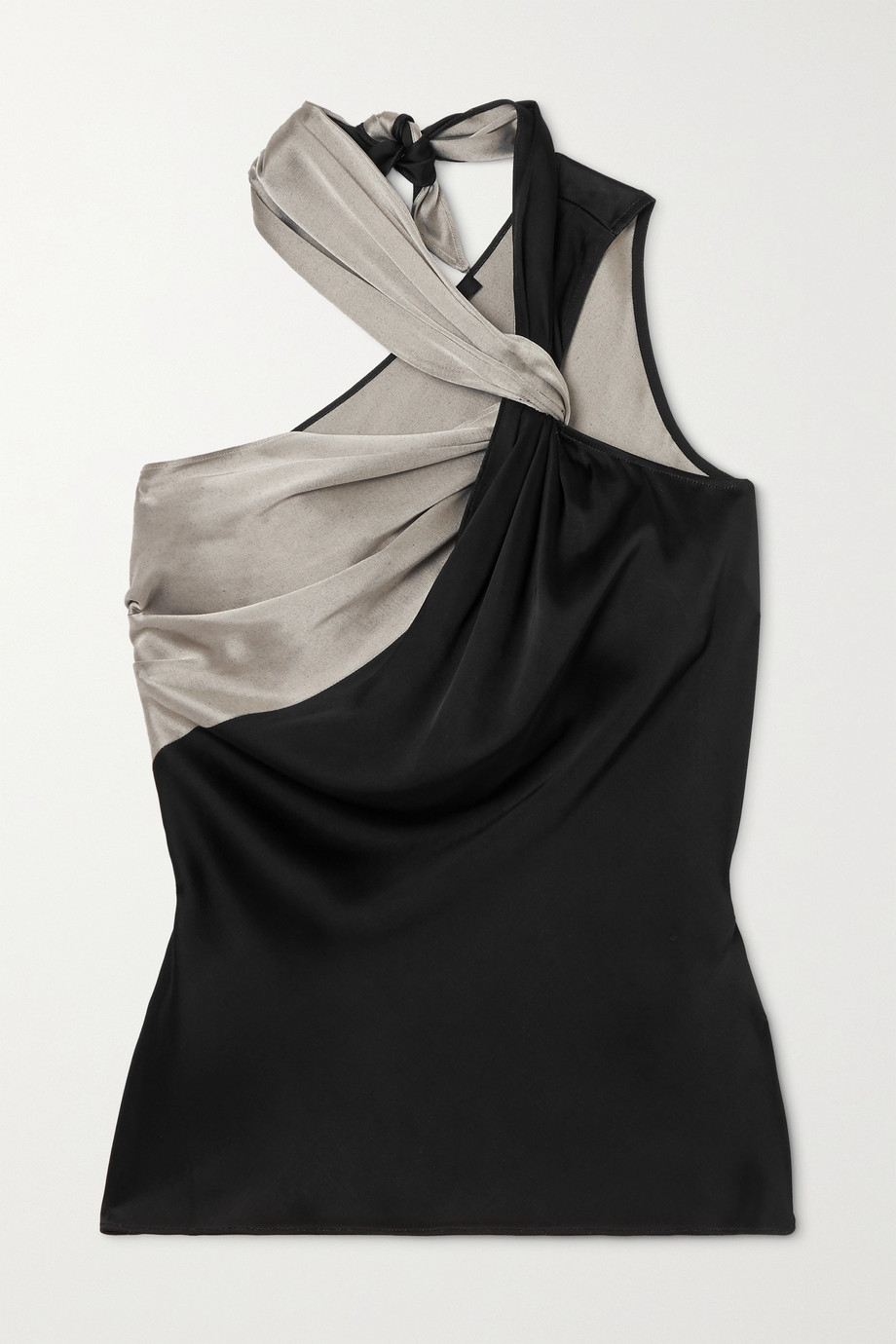 Helmut Lang Knotted two-tone satin top