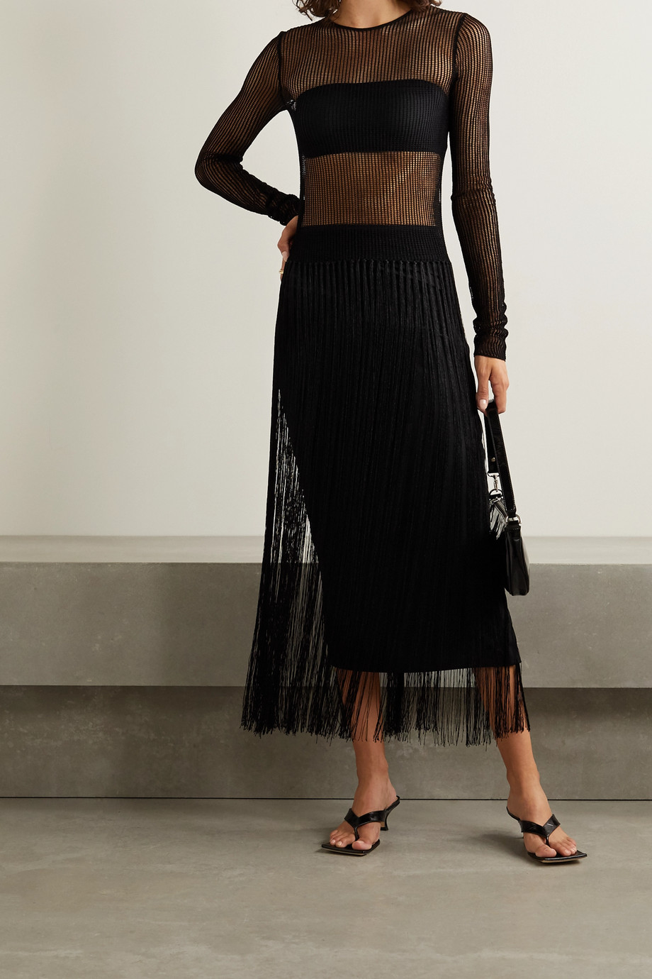 Helmut Lang Fringed crocheted cotton-blend top