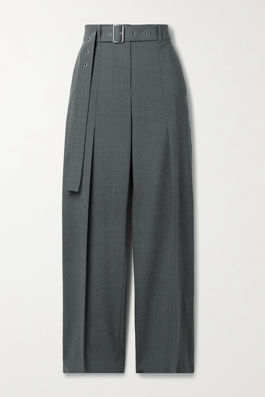 Helmut Lang Belted wool-blend straight-leg pants