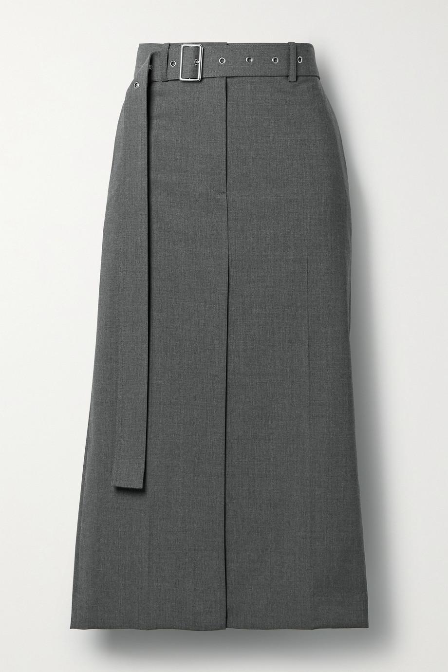 Helmut Lang Jupe midi en laine mélangée à ceinture