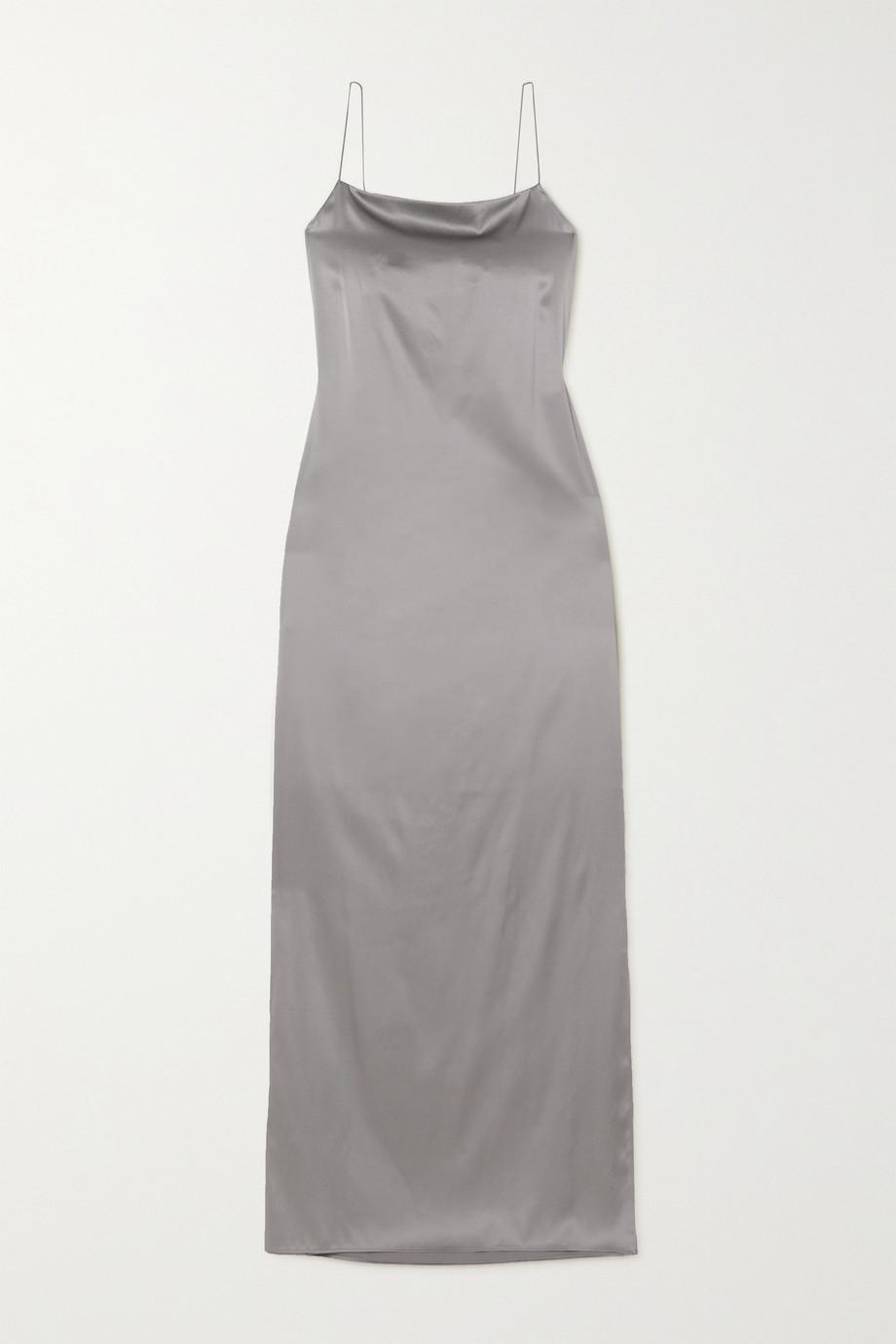 Helmut Lang Robe longue dos ouvert en satin de soie stretch