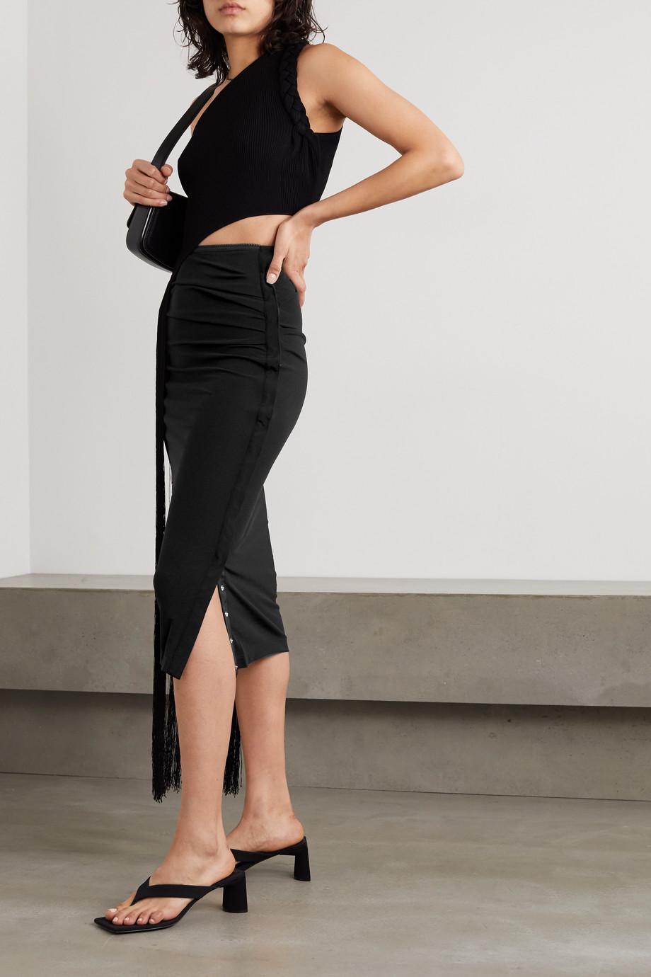 Helmut Lang Gathered crepe midi skirt