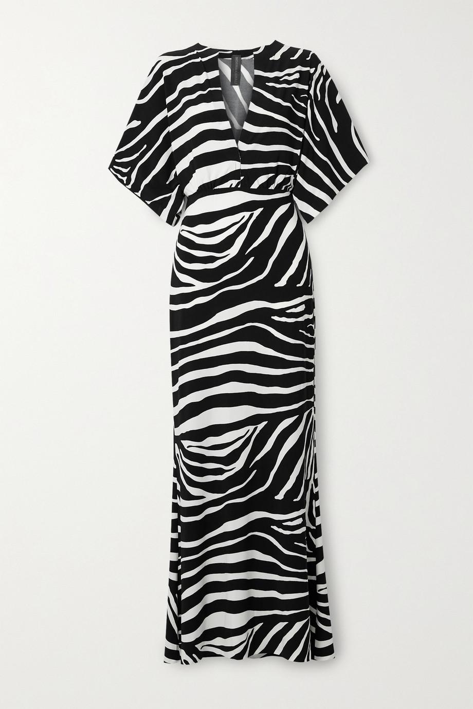 Norma Kamali Obie zebra-print stretch-jersey maxi dress