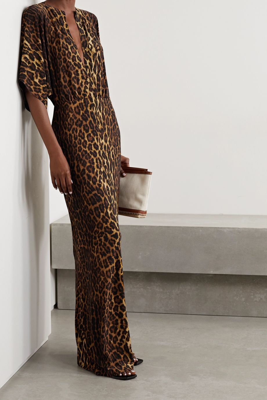 Norma Kamali Robe longue en jersey stretch à imprimé léopard Obie