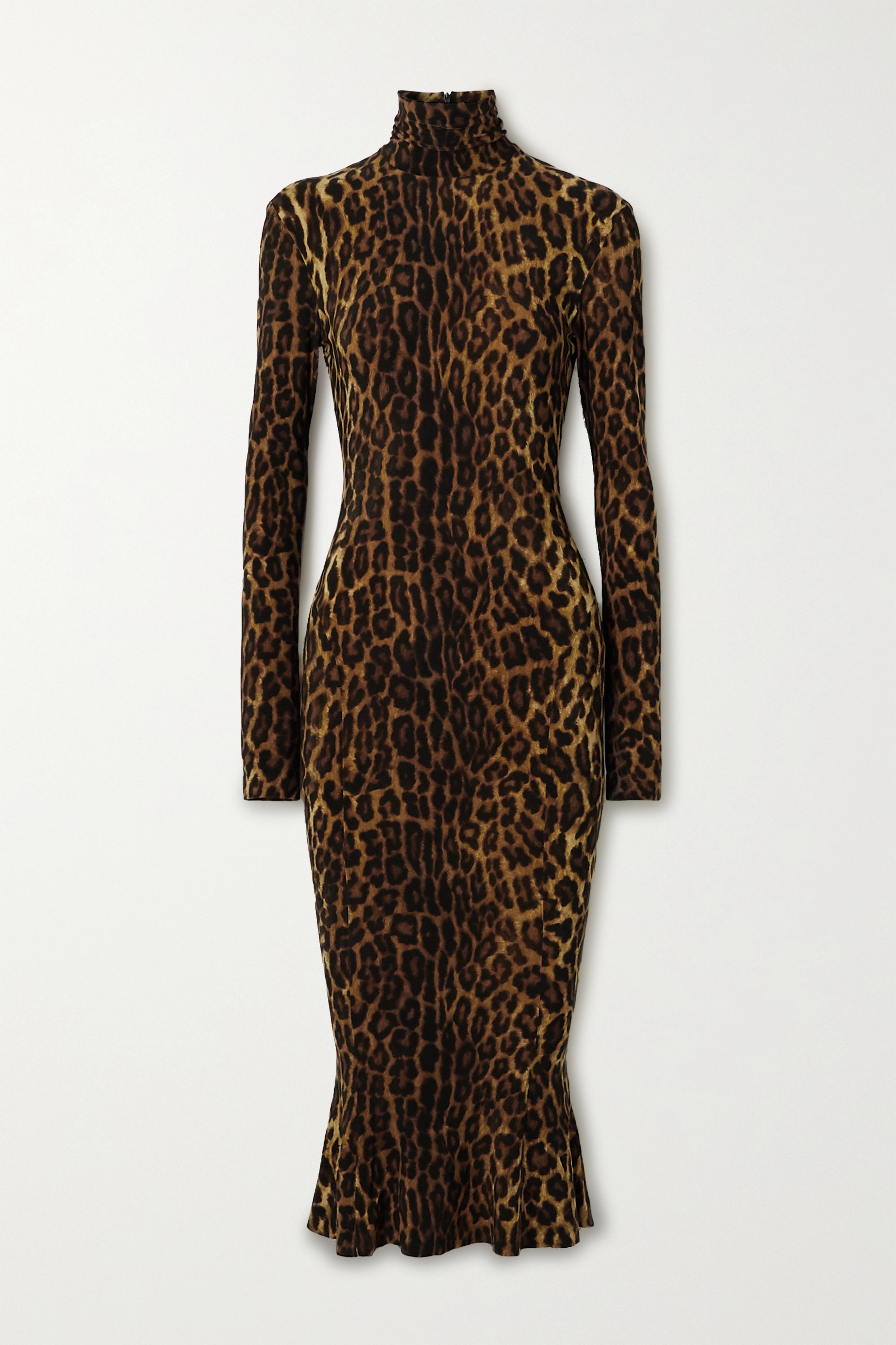 Norma Kamali Leopard-print stretch-jersey turtleneck midi dress