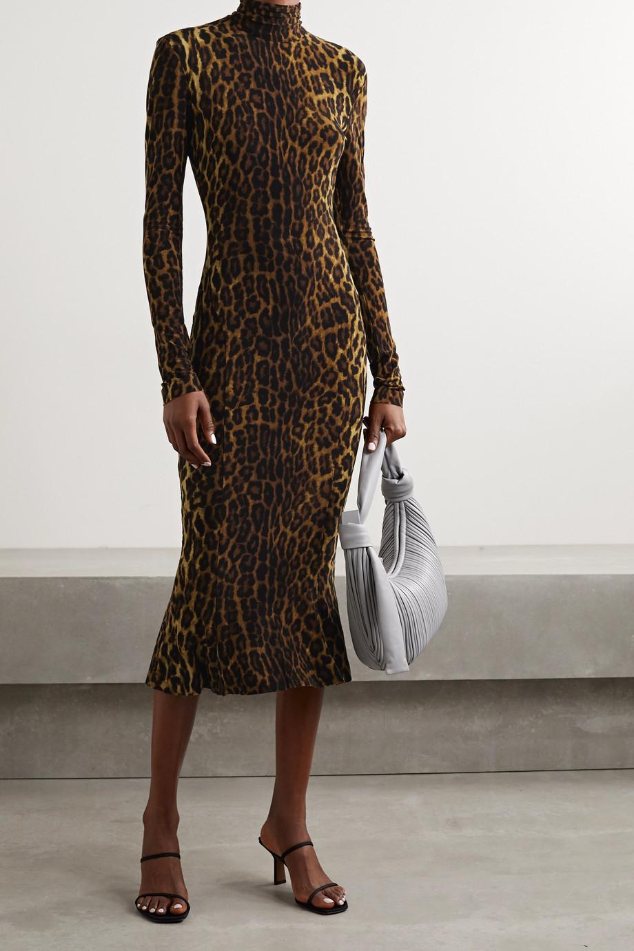 Norma Kamali Leopard-print stretch-jersey turtleneck midi dress