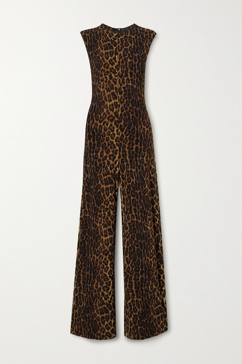 Norma Kamali Leopard-print stretch-jersey jumpsuit