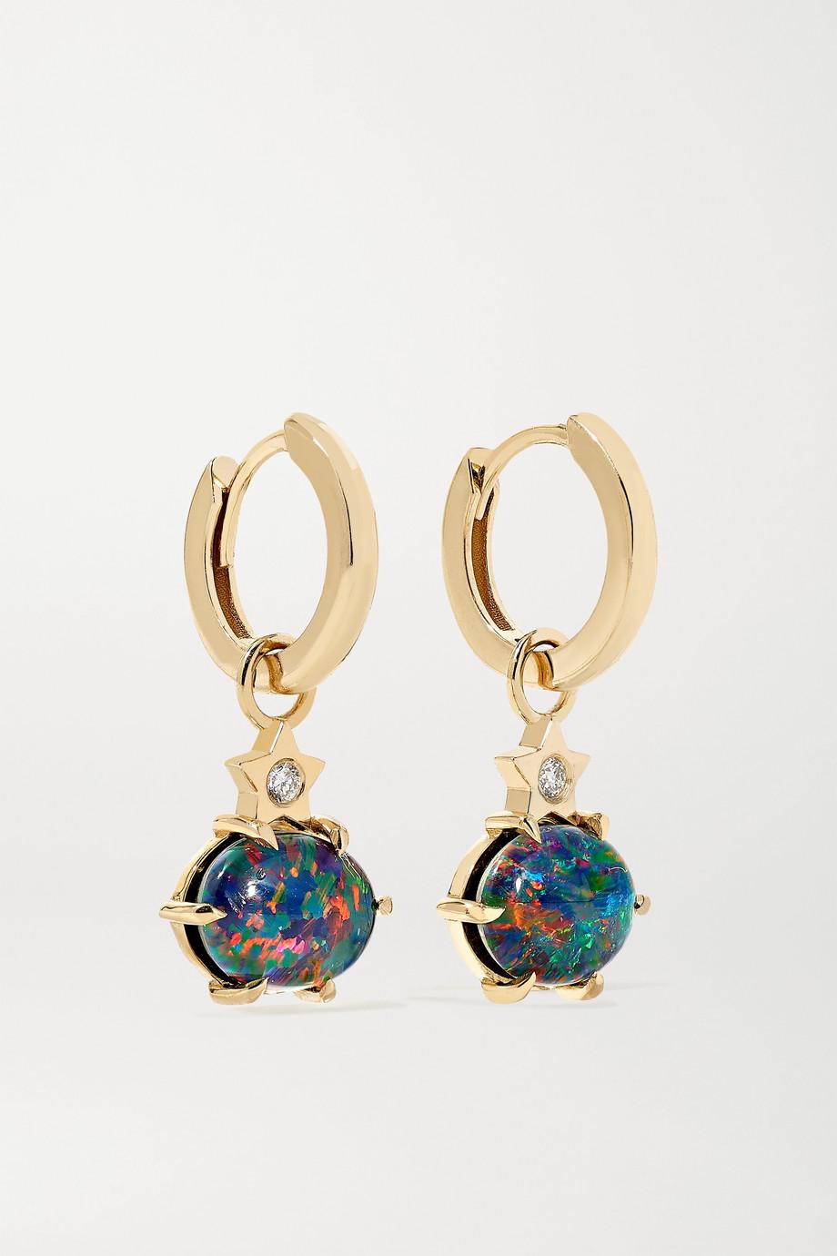 Andrea Fohrman Boucles d'oreilles en or 14 carats, opales et diamants Mini Cosmo